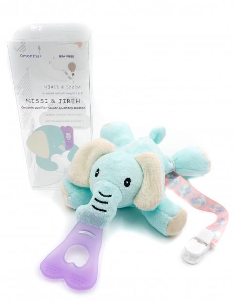 美國NISSI & JIREH 五合一100%有機棉玩偶固齒奶嘴夾(11月上架) 1