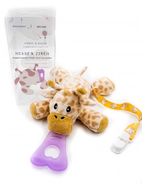 美國NISSI & JIREH 五合一100%有機棉玩偶固齒奶嘴夾 2